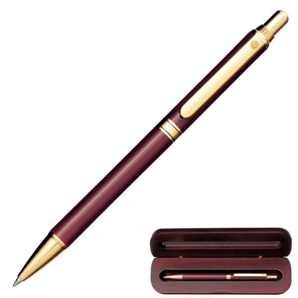 WP-5424ぺんてるボールペン(エンジ)ウッドケース入